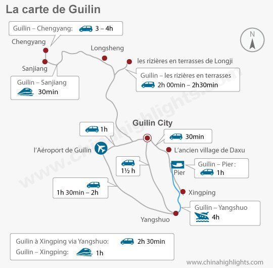 Carte de transport des attractions de guilin
